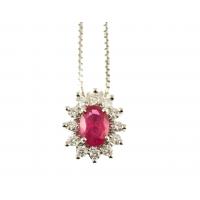 Collana rubino e contorno diamanti